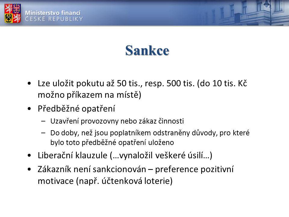 Sankce Lze uložit pokutu až 50 tis., resp.500 tis.