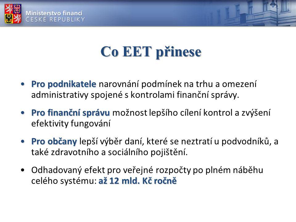 Na závěr EET vychází z programového prohlášení vlády ČR EET je díky odstranění neoprávněné podnikatelské výhody nepoctivců jedním z nejvýznamnějších opatření k narovnání podmínek pro podnikání Jde o řešení nejméně administrativně i nákladově zatěžující Přínosy se projeví v horizontu několika let jak v podnikatelské sféře, tak v efektivitě činnosti finanční správy a výši příjmů veřejných rozpočtů EET podporuje drtivá většina profesních a zaměstnavatelských svazů, komor a institucí