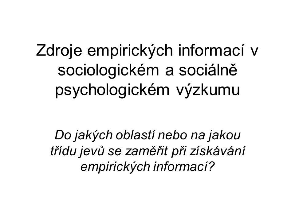 Oblasti získávání empirických informací Chování jedinců (případně jiných sociálních subjektů.
