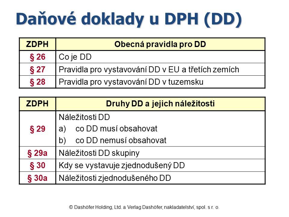 Daňové doklady u DPH (DD) ZDPHObecná pravidla pro DD § 26Co je DD § 27Pravidla pro vystavování DD v EU a třetích zemích § 28Pravidla pro vystavování D