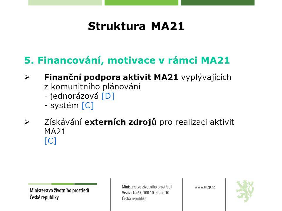 Struktura MA21 5. Financování, motivace v rámci MA21  Finanční podpora aktivit MA21 vyplývajících z komunitního plánování - jednorázová [D] - systém
