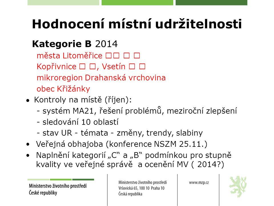 Hodnocení místní udržitelnosti Kategorie B 2014 města Litoměřice Kopřivnice, Vsetín mikroregion Drahanská vrchovina obec Křižánky ● Kontroly na místě