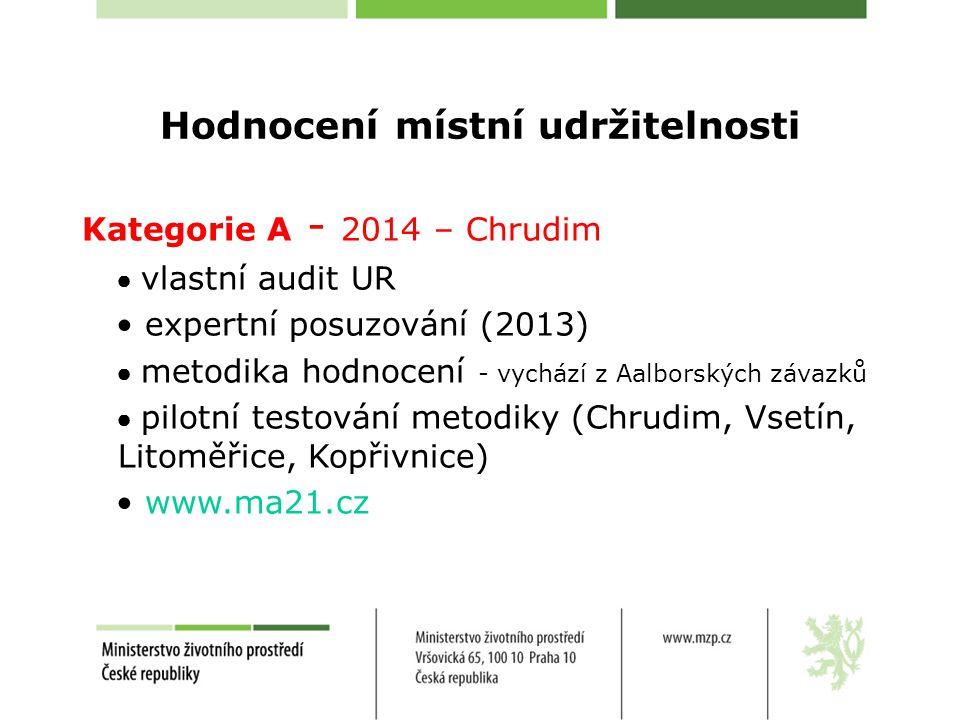 Hodnocení místní udržitelnosti Kategorie A - 2014 – Chrudim ● vlastní audit UR expertní posuzování (2013) ● metodika hodnocení - vychází z Aalborských