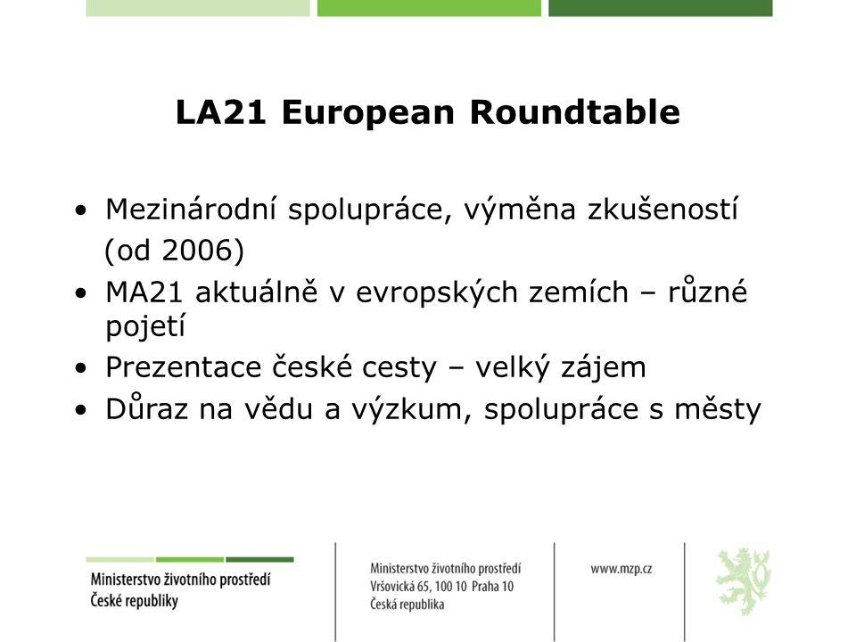 LA21 European Roundtable Mezinárodní spolupráce, výměna zkušeností (od 2006) MA21 aktuálně v evropských zemích – různé pojetí Prezentace české cesty – velký zájem Důraz na vědu a výzkum, spolupráce s městy