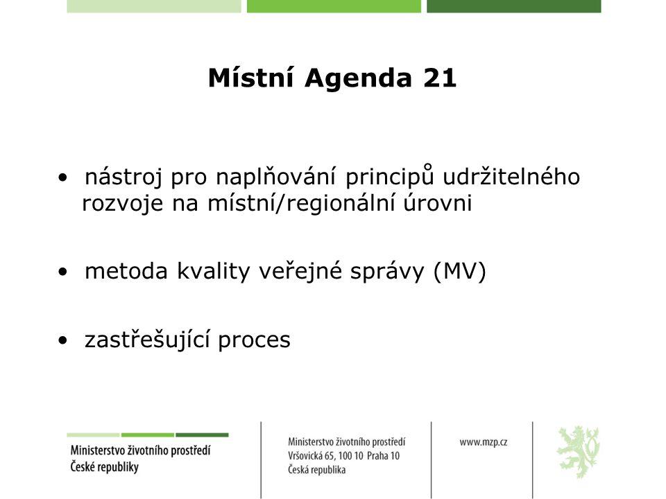 Místní Agenda 21 nástroj pro naplňování principů udržitelného rozvoje na místní/regionální úrovni metoda kvality veřejné správy (MV) zastřešující proces
