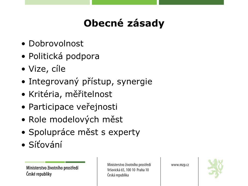 Obecné zásady Dobrovolnost Politická podpora Vize, cíle Integrovaný přístup, synergie Kritéria, měřitelnost Participace veřejnosti Role modelových měs