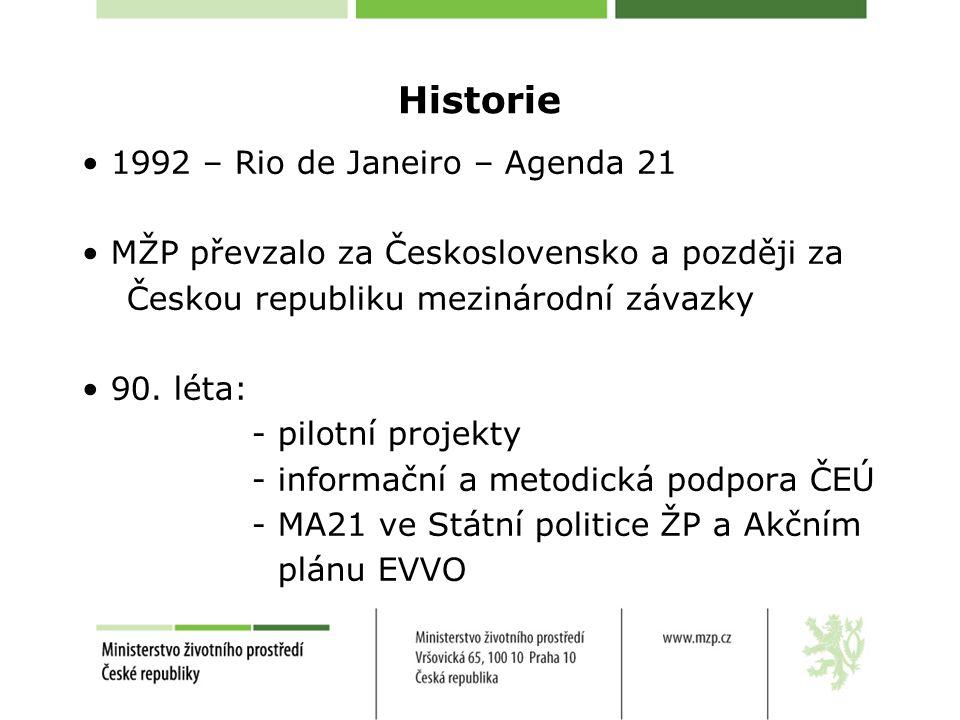 Historie 1992 – Rio de Janeiro – Agenda 21 MŽP převzalo za Československo a později za Českou republiku mezinárodní závazky 90. léta: - pilotní projek