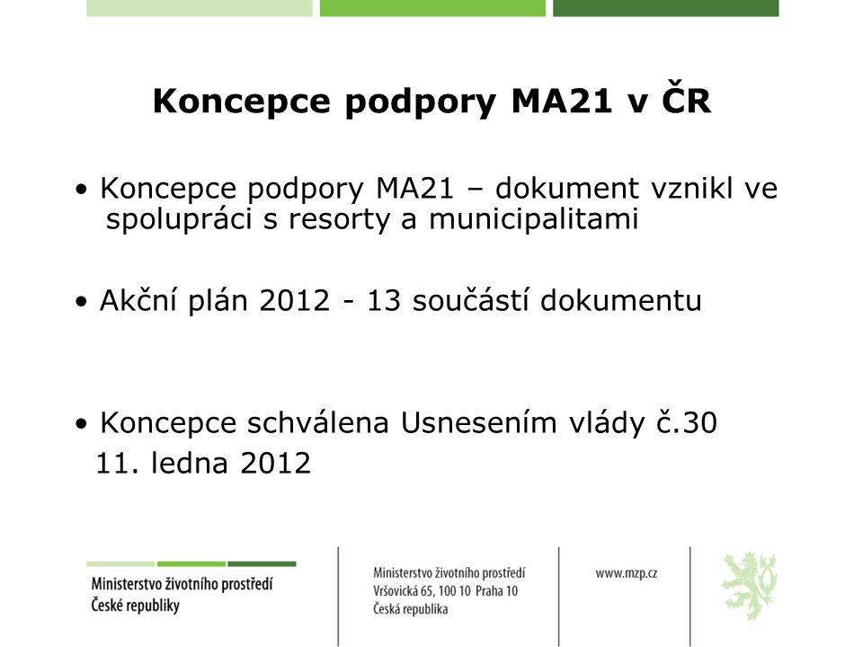 Koncepce podpory MA21 v ČR Koncepce podpory MA21 – dokument vznikl ve spolupráci s resorty a municipalitami Akční plán 2012 - 13 součástí dokumentu Ko