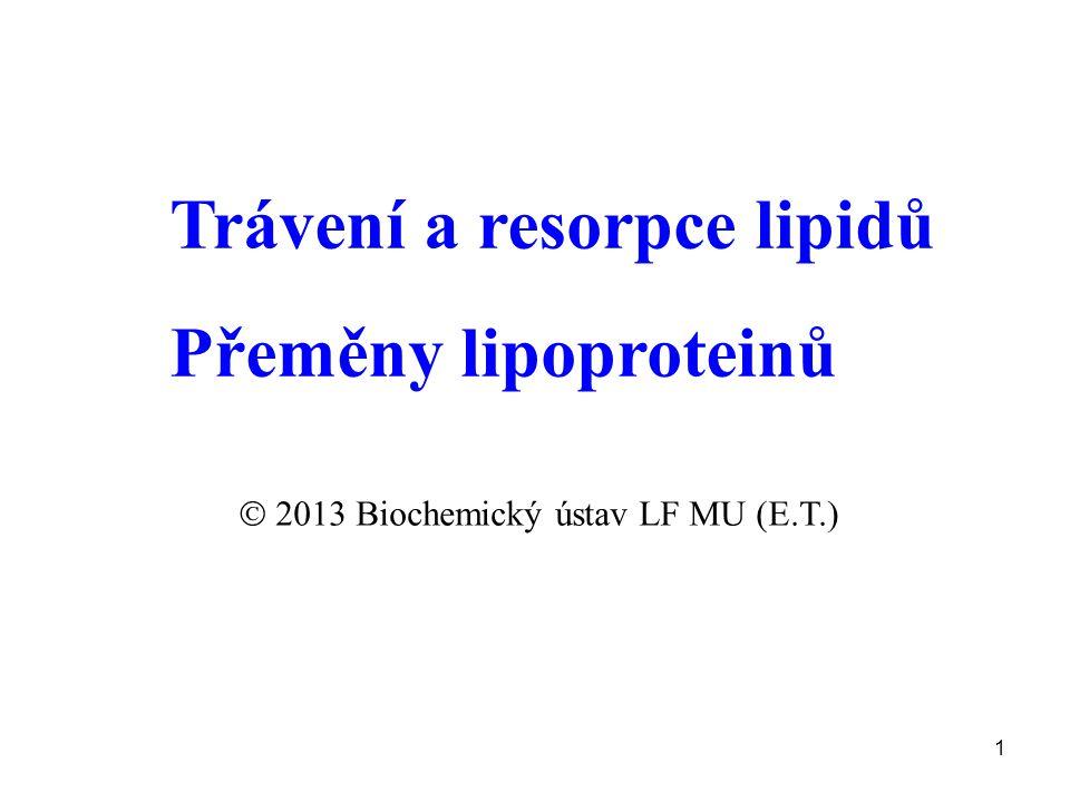 2 Triacylglyceroly (TG)-90% Fosfolipidy (PL) Cholesterolestery (CHE) Glykolipidy (GL) Lipofilní vitaminy (LV) Primární produkty: volné MK 2-monoacylglyceroly lysofosfolipidy cholesterol lipofilní vitaminy Pankreatické lipasy + kolipasa Žlučové kyseliny Lingvální a žaludeční lipasa Resorpce do enterocytů ve formě směsných micel (částice < 20 nm) Trávení lipidů