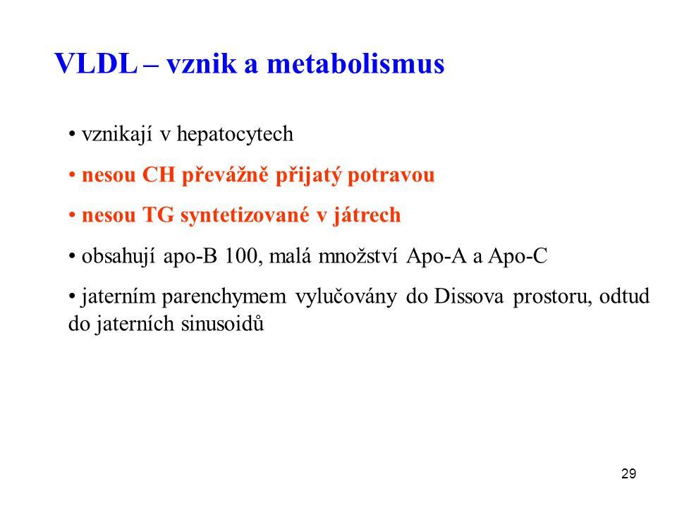 29 VLDL – vznik a metabolismus vznikají v hepatocytech nesou CH převážně přijatý potravou nesou TG syntetizované v játrech obsahují apo-B 100, malá mn