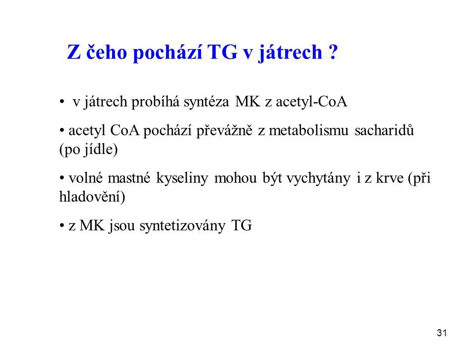 31 Z čeho pochází TG v játrech ? v játrech probíhá syntéza MK z acetyl-CoA acetyl CoA pochází převážně z metabolismu sacharidů (po jídle) volné mastné