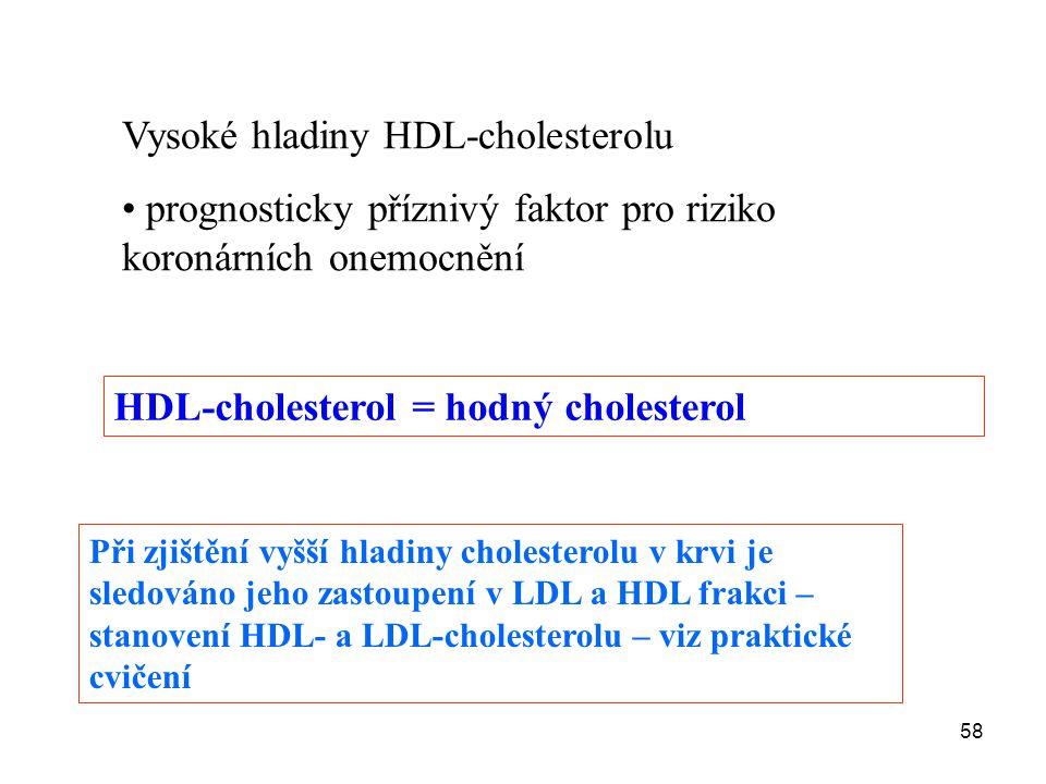 58 Vysoké hladiny HDL-cholesterolu prognosticky příznivý faktor pro riziko koronárních onemocnění HDL-cholesterol = hodný cholesterol Při zjištění vyš