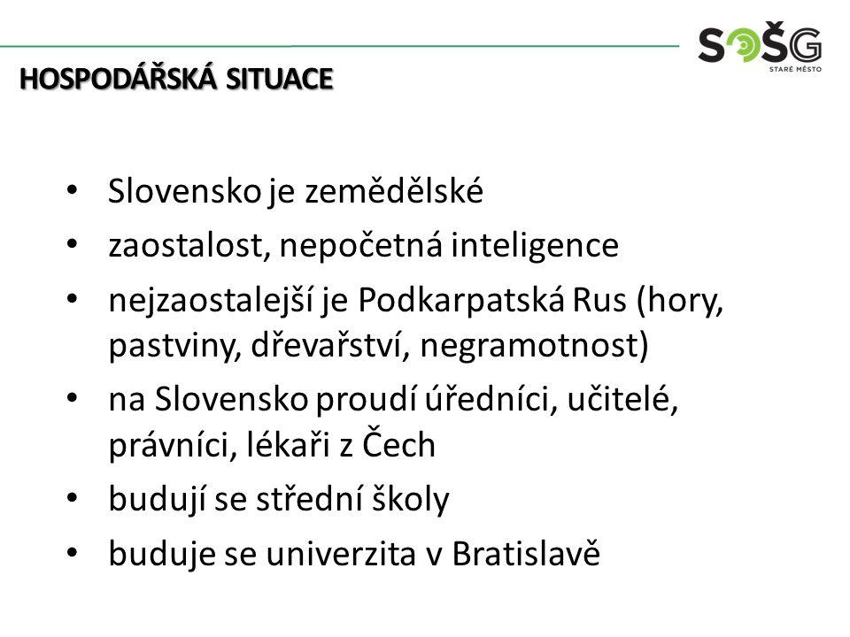 Slovensko je zemědělské zaostalost, nepočetná inteligence nejzaostalejší je Podkarpatská Rus (hory, pastviny, dřevařství, negramotnost) na Slovensko proudí úředníci, učitelé, právníci, lékaři z Čech budují se střední školy buduje se univerzita v Bratislavě HOSPODÁŘSKÁ SITUACE