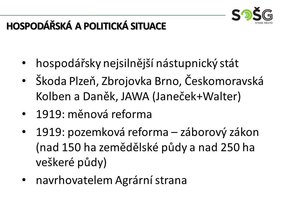 došlo k roztříštěnosti pozemkové držby pluralitní parlamentní demokracie prosazování společných zájmů systém několika politických stran Československá strana sociální demokratická (F.