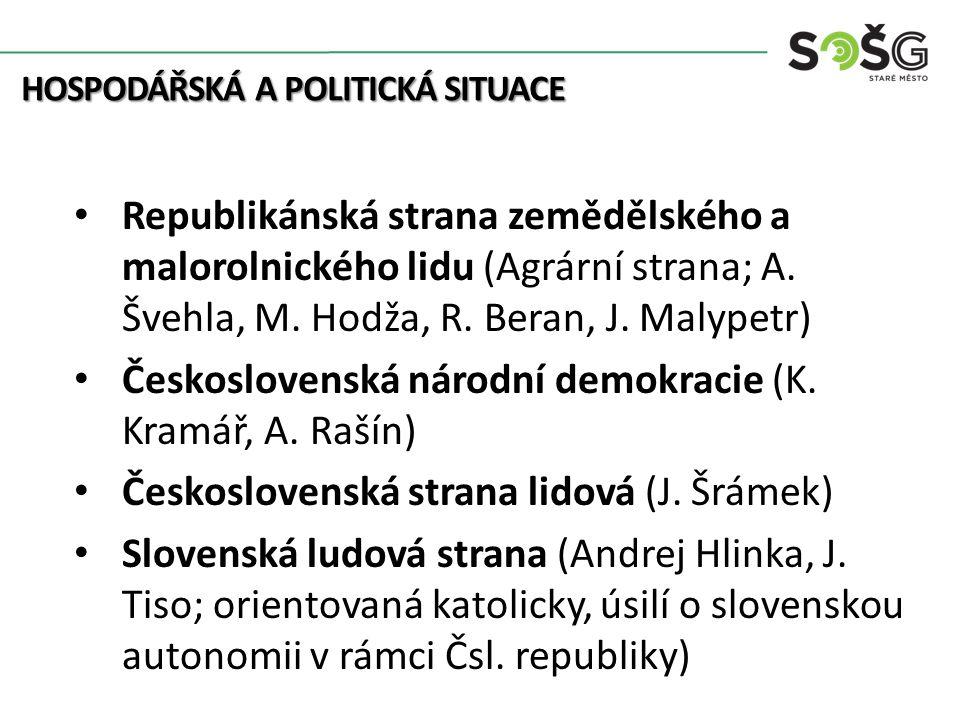 HOSPODÁŘSKÁ A POLITICKÁ SITUACE Republikánská strana zemědělského a malorolnického lidu (Agrární strana; A.