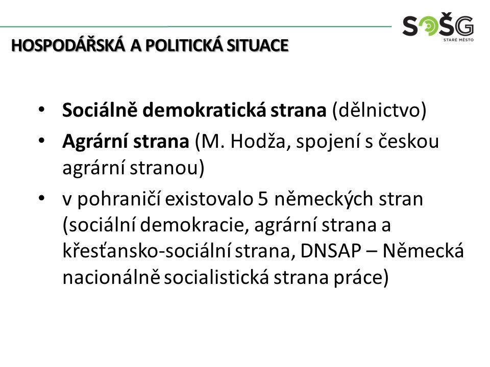 Sociálně demokratická strana (dělnictvo) Agrární strana (M.