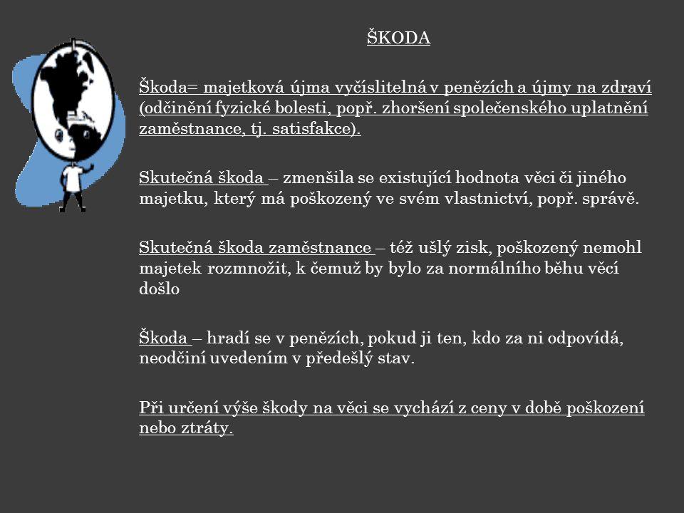 ŠKODA Škoda= majetková újma vyčíslitelná v penězích a újmy na zdraví (odčinění fyzické bolesti, popř. zhoršení společenského uplatnění zaměstnance, tj