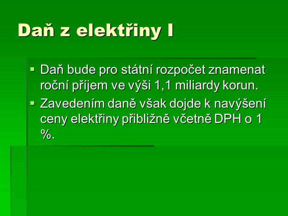 Daň z elektřiny I  Daň bude pro státní rozpočet znamenat roční příjem ve výši 1,1 miliardy korun.  Zavedením daně však dojde k navýšení ceny elektři