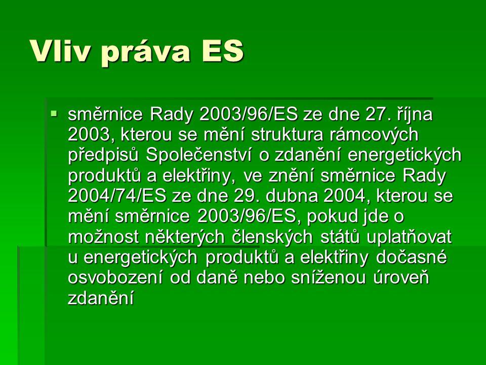 Vliv práva ES  směrnice Rady 2003/96/ES ze dne 27. října 2003, kterou se mění struktura rámcových předpisů Společenství o zdanění energetických produ