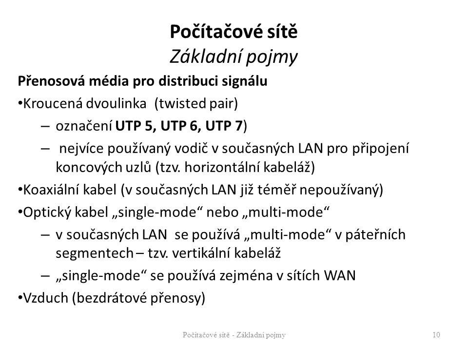 Počítačové sítě Základní pojmy Přenosová média pro distribuci signálu Kroucená dvoulinka (twisted pair) – označení UTP 5, UTP 6, UTP 7) – nejvíce použ