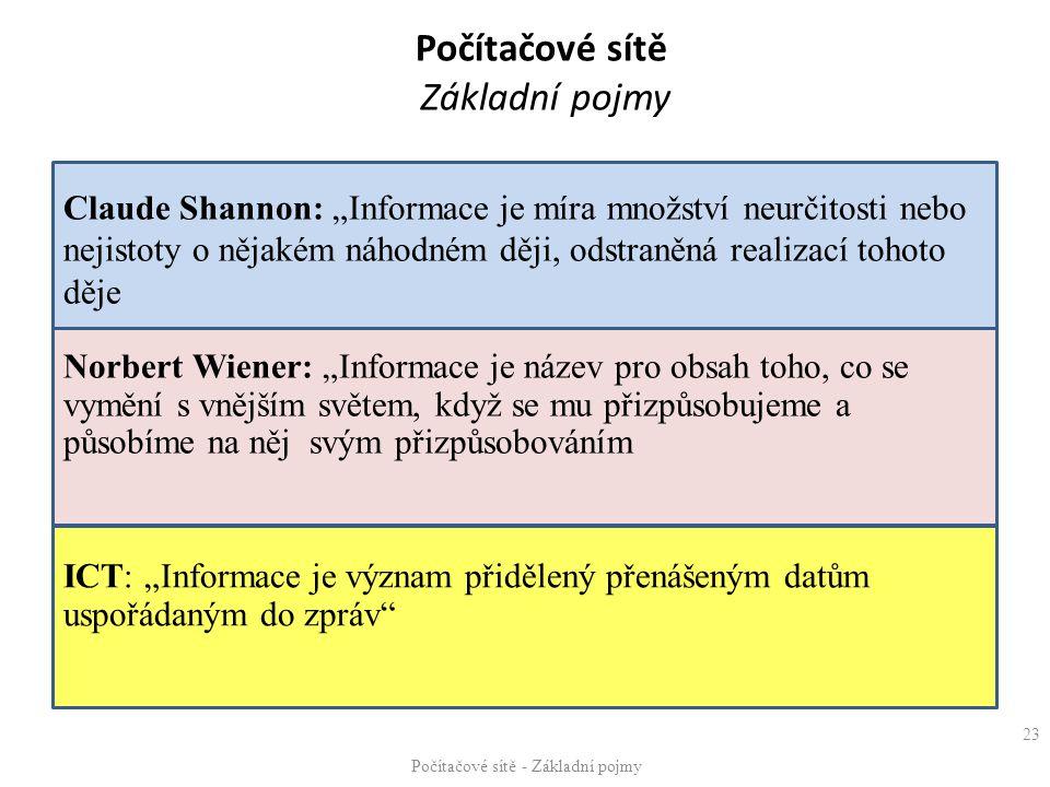 """ICT: """"Informace je význam přidělený přenášeným datům uspořádaným do zpráv"""" Claude Shannon: """"Informace je míra množství neurčitosti nebo nejistoty o ně"""