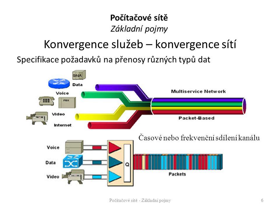 Počítačové sítě Základní pojmy Konvergence služeb – konvergence sítí Specifikace požadavků na přenosy různých typů dat Počítačové sítě - Základní pojm