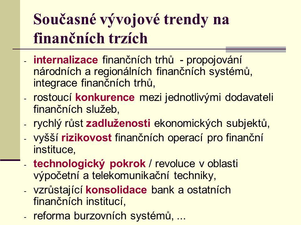 Současné vývojové trendy na finančních trzích - internalizace finančních trhů - propojování národních a regionálních finančních systémů, integrace fin