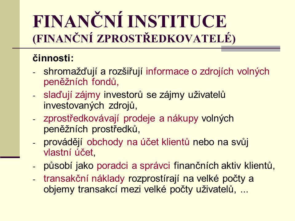 FINANČNÍ INSTITUCE (FINANČNÍ ZPROSTŘEDKOVATELÉ) činnosti: - shromažďují a rozšiřují informace o zdrojích volných peněžních fondů, - slaďují zájmy inve
