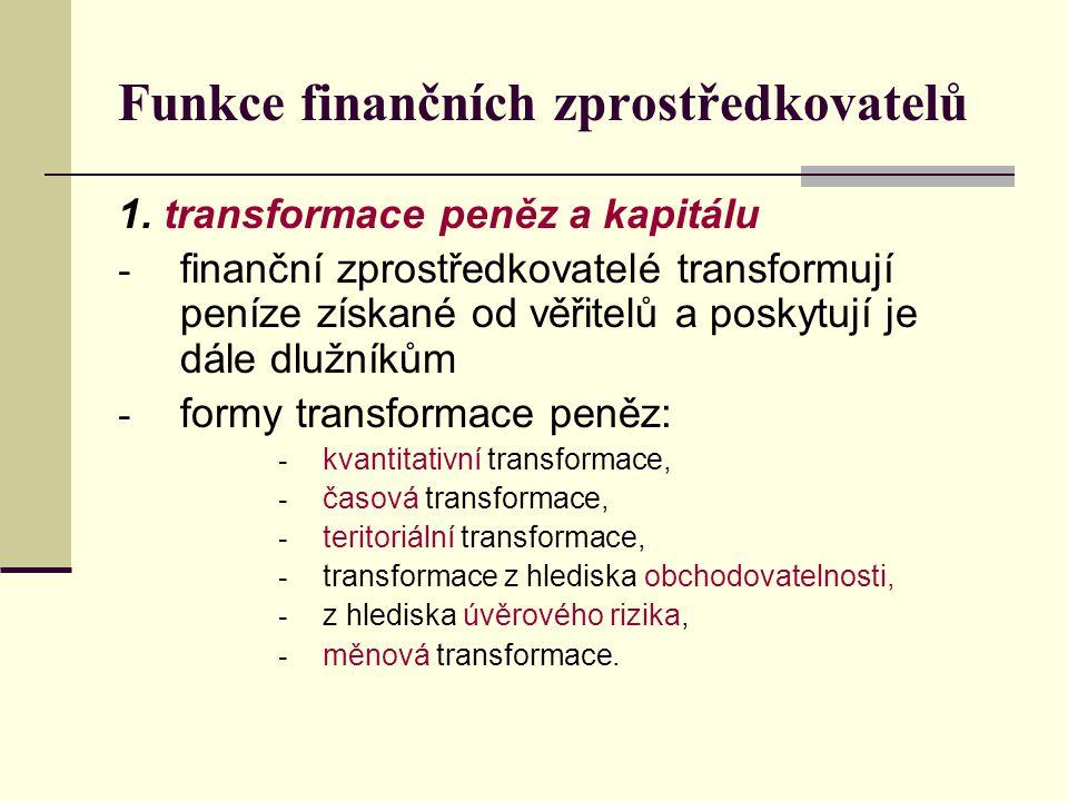 Funkce finančních zprostředkovatelů 1. transformace peněz a kapitálu - finanční zprostředkovatelé transformují peníze získané od věřitelů a poskytují