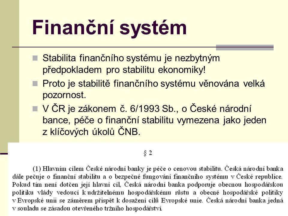 Finanční systém Stabilita finančního systému je nezbytným předpokladem pro stabilitu ekonomiky! Proto je stabilitě finančního systému věnována velká p