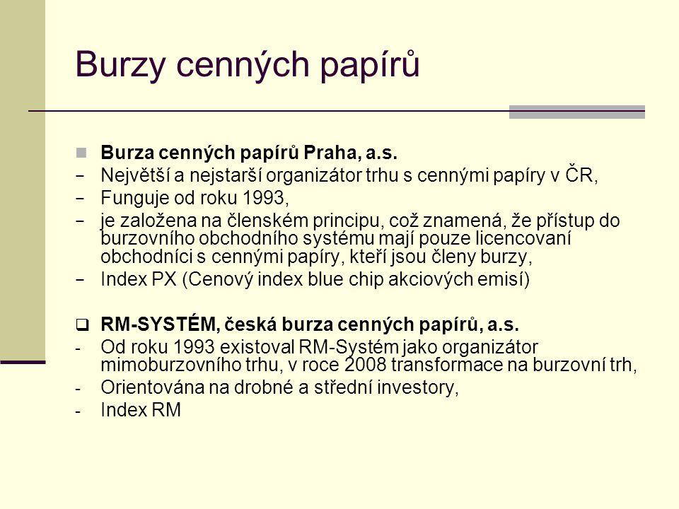 Burzy cenných papírů Burza cenných papírů Praha, a.s. − Největší a nejstarší organizátor trhu s cennými papíry v ČR, − Funguje od roku 1993, − je zalo