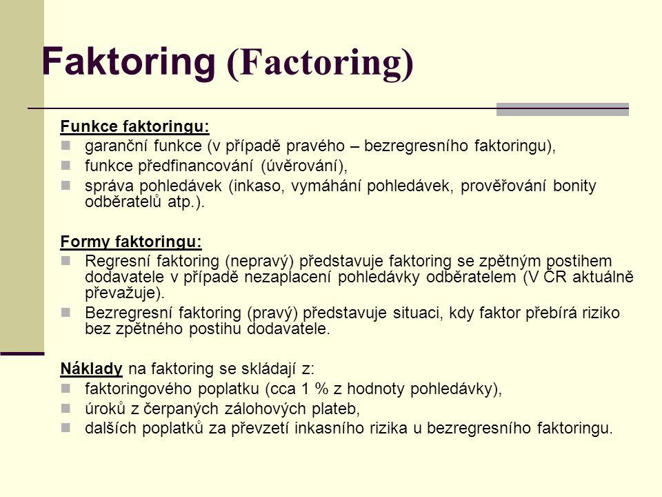 Funkce faktoringu: garanční funkce (v případě pravého – bezregresního faktoringu), funkce předfinancování (úvěrování), správa pohledávek (inkaso, vymá