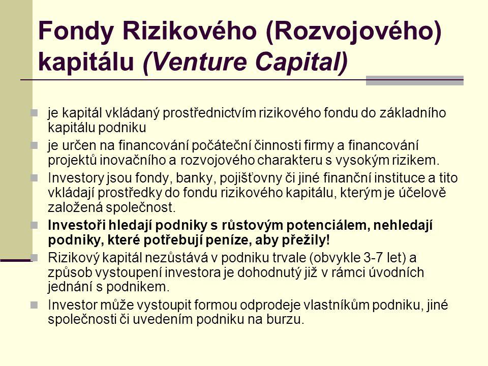 Fondy Rizikového (Rozvojového) kapitálu (Venture Capital) je kapitál vkládaný prostřednictvím rizikového fondu do základního kapitálu podniku je určen
