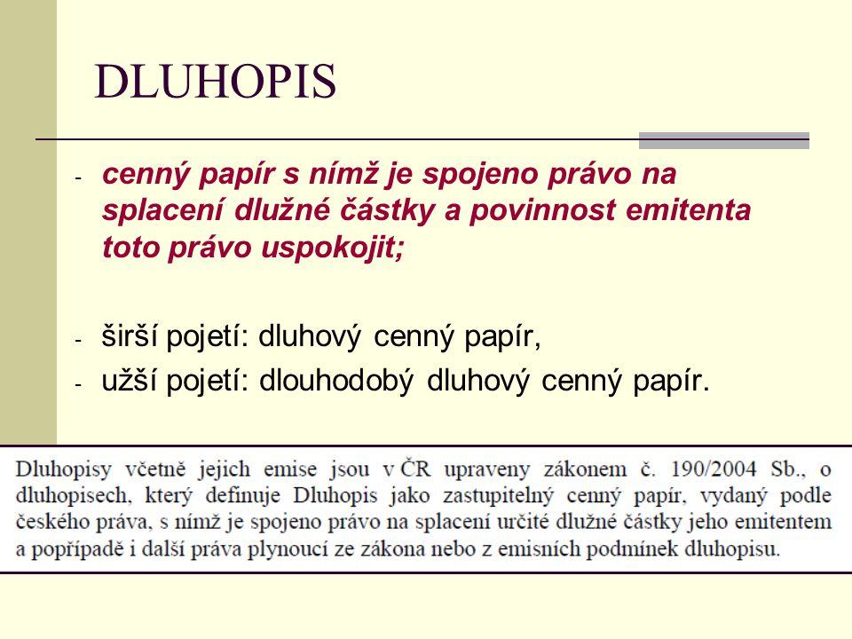 DLUHOPIS - cenný papír s nímž je spojeno právo na splacení dlužné částky a povinnost emitenta toto právo uspokojit; - širší pojetí: dluhový cenný papí