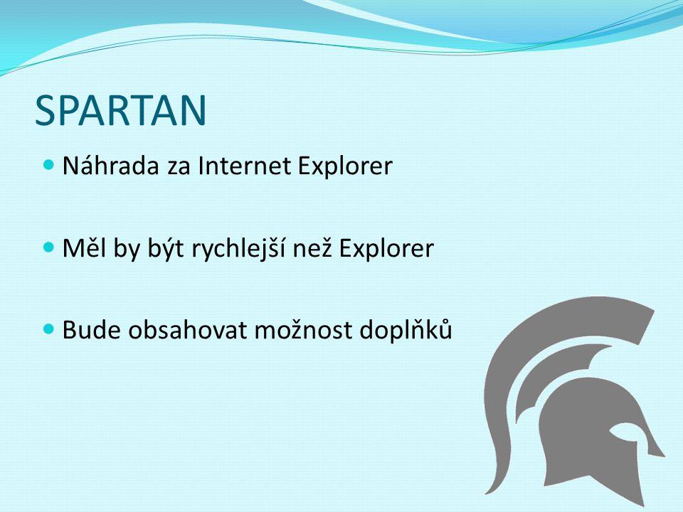 SPARTAN Náhrada za Internet Explorer Měl by být rychlejší než Explorer Bude obsahovat možnost doplňků