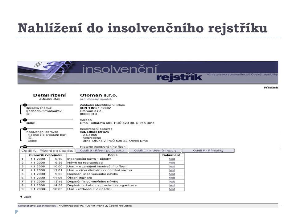 Nahlížení do insolvenčního rejstříku bhavel@kop.zcu.cz 10