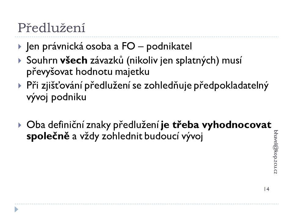 Předlužení bhavel@kop.zcu.cz 14  Jen právnická osoba a FO – podnikatel  Souhrn všech závazků (nikoliv jen splatných) musí převyšovat hodnotu majetku