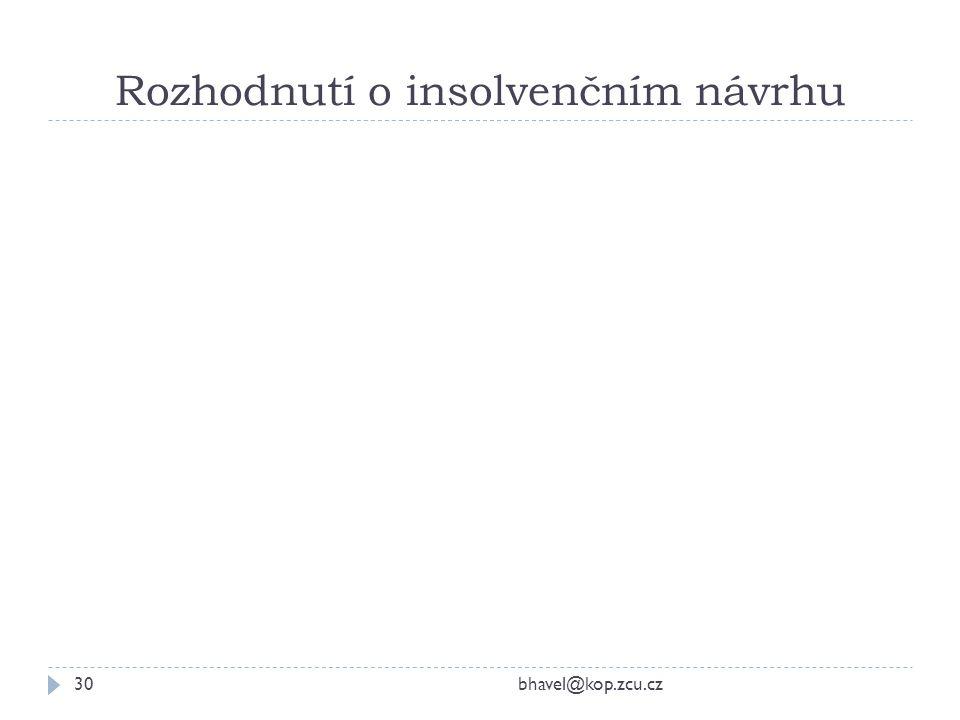 Rozhodnutí o insolvenčním návrhu bhavel@kop.zcu.cz30