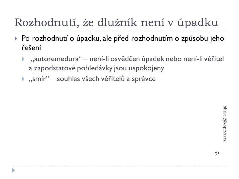 """Rozhodnutí, že dlužník není v úpadku bhavel@kop.zcu.cz 33  Po rozhodnutí o úpadku, ale před rozhodnutím o způsobu jeho řešení  """"autoremedura"""" – není"""
