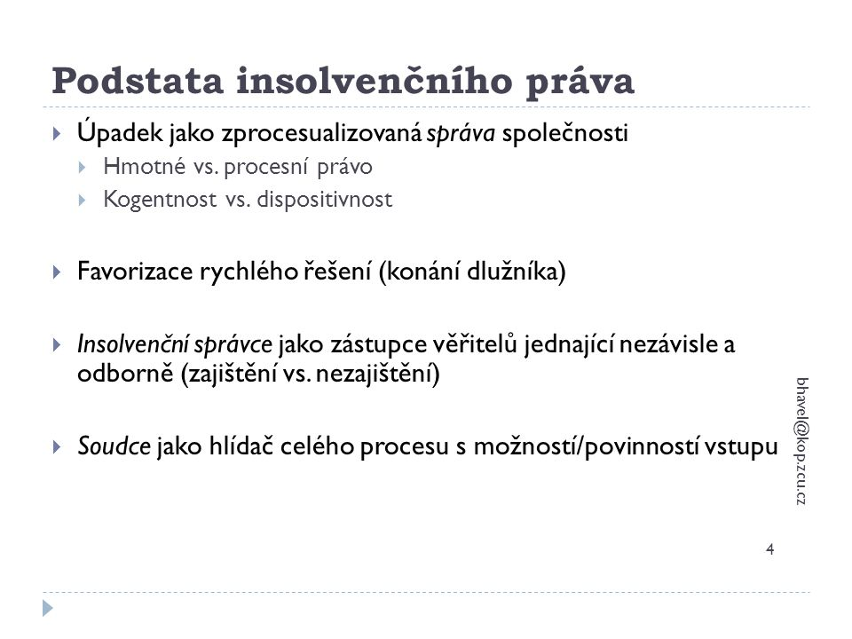 Věřitelské orgány a další subjekty bhavel@kop.zcu.cz 65  Zástupce věřitelů  Je-li věřitelů pod 50  Fakultativní orgán x obligatorní věřitelský výbor  Státní zastupitelství  Likvidátor – jen v rozsahu, ve kterém správa nepřešla na insolvenčního správce