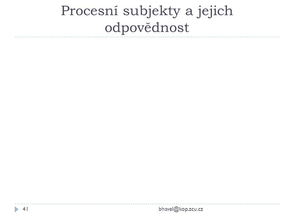 Procesní subjekty a jejich odpovědnost bhavel@kop.zcu.cz41