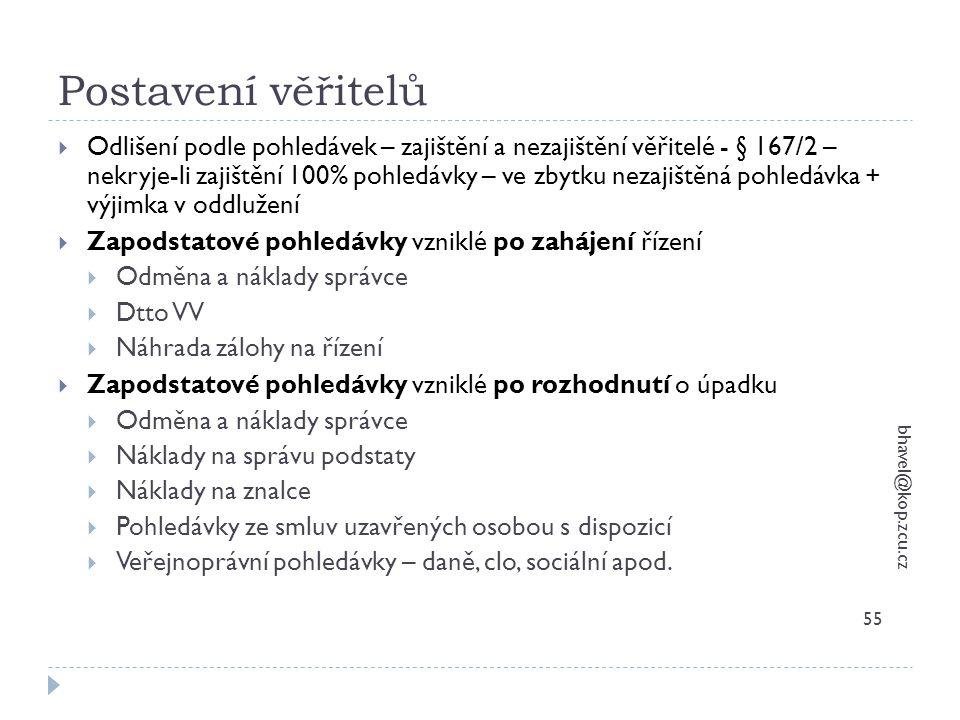 Postavení věřitelů bhavel@kop.zcu.cz 55  Odlišení podle pohledávek – zajištění a nezajištění věřitelé - § 167/2 – nekryje-li zajištění 100% pohledávk