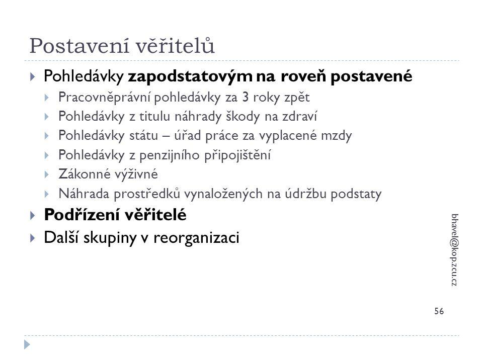 Postavení věřitelů bhavel@kop.zcu.cz 56  Pohledávky zapodstatovým na roveň postavené  Pracovněprávní pohledávky za 3 roky zpět  Pohledávky z titulu