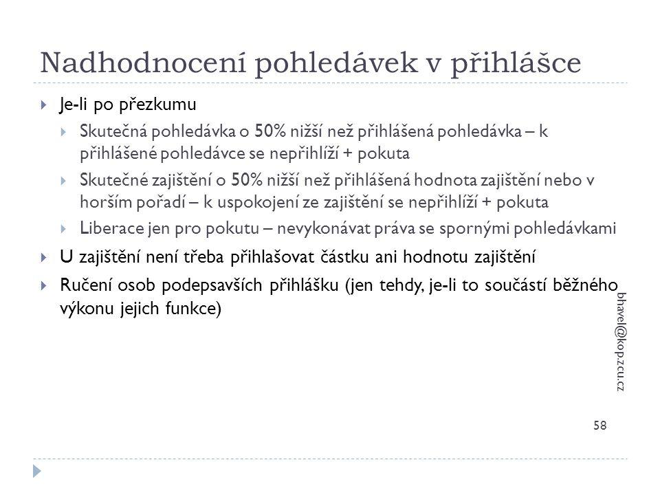 Nadhodnocení pohledávek v přihlášce bhavel@kop.zcu.cz 58  Je-li po přezkumu  Skutečná pohledávka o 50% nižší než přihlášená pohledávka – k přihlášen