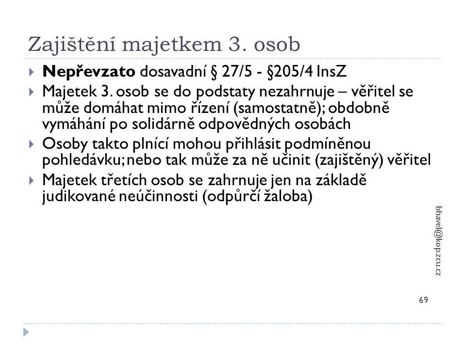 Zajištění majetkem 3. osob bhavel@kop.zcu.cz 69  Nepřevzato dosavadní § 27/5 - §205/4 InsZ  Majetek 3. osob se do podstaty nezahrnuje – věřitel se m