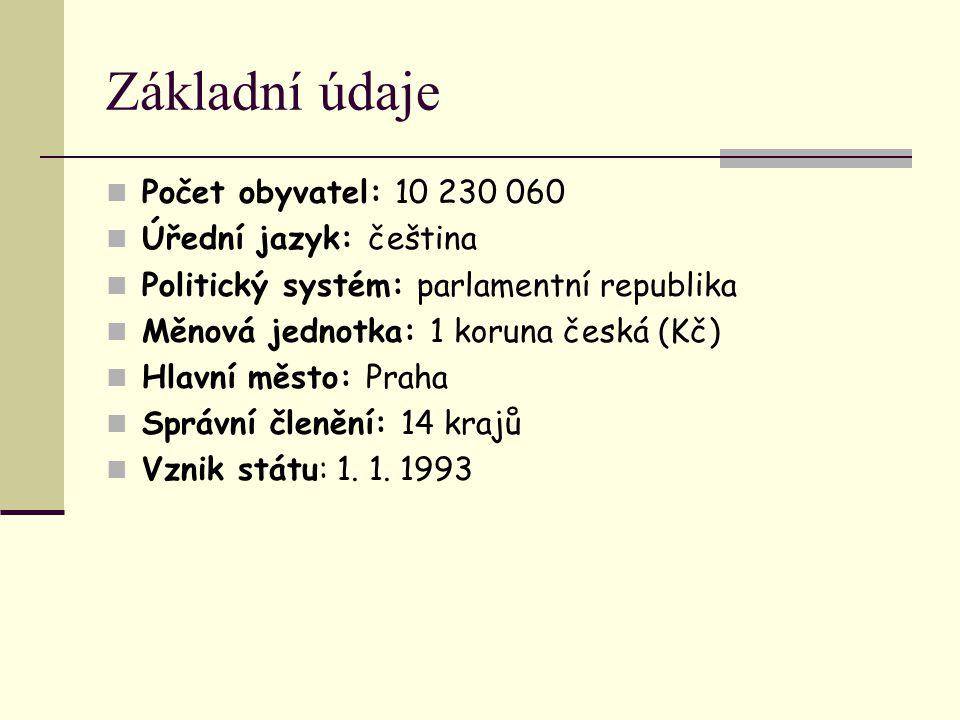 Základní údaje Počet obyvatel: 10 230 060 Úřední jazyk: čeština Politický systém: parlamentní republika Měnová jednotka: 1 koruna česká (Kč) Hlavní mě