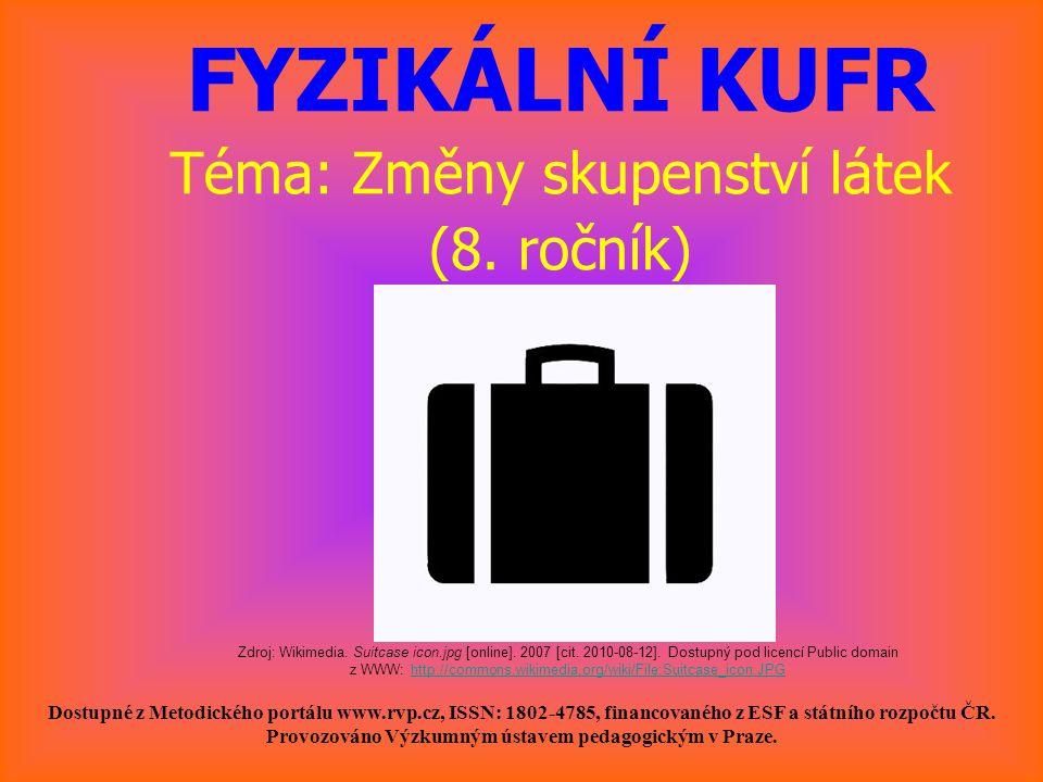 FYZIKÁLNÍ KUFR Téma: Změny skupenství látek (8. ročník) Dostupné z Metodického portálu www.rvp.cz, ISSN: 1802-4785, financovaného z ESF a státního roz