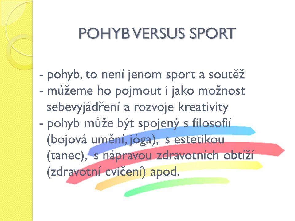 POHYB VERSUS SPORT - pohyb, to není jenom sport a soutěž - můžeme ho pojmout i jako možnost sebevyjádření a rozvoje kreativity - pohyb může být spojený s filosofií (bojová umění, jóga), s estetikou (tanec), s nápravou zdravotních obtíží (zdravotní cvičení) apod.