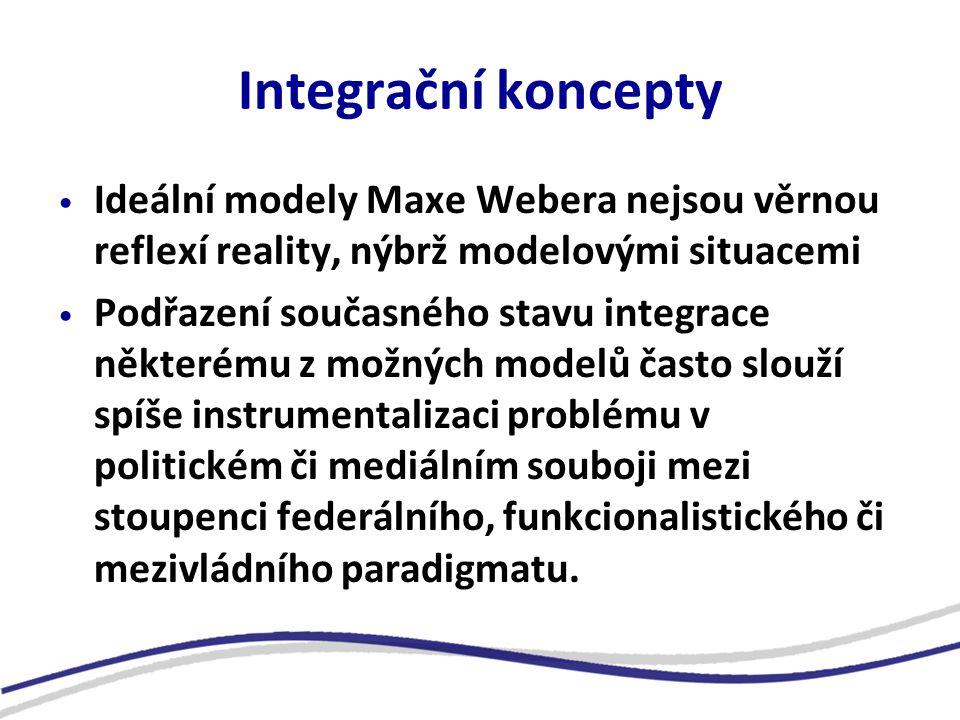 Integrační koncepty Ideální modely Maxe Webera nejsou věrnou reflexí reality, nýbrž modelovými situacemi Podřazení současného stavu integrace některému z možných modelů často slouží spíše instrumentalizaci problému v politickém či mediálním souboji mezi stoupenci federálního, funkcionalistického či mezivládního paradigmatu.