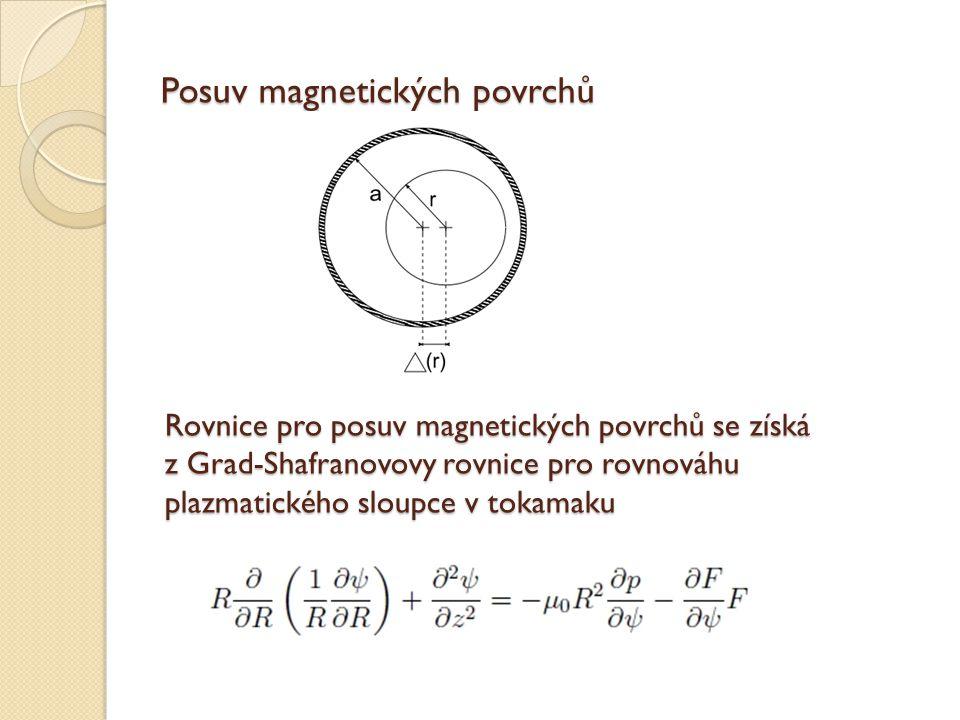 Rovnice pro posuv plazmatu Použitím předpokladů malé kruhový průřez plazmatu tokamak s velkým aspektem lze upravit G-S rovnici na diferenciální rovnici pro